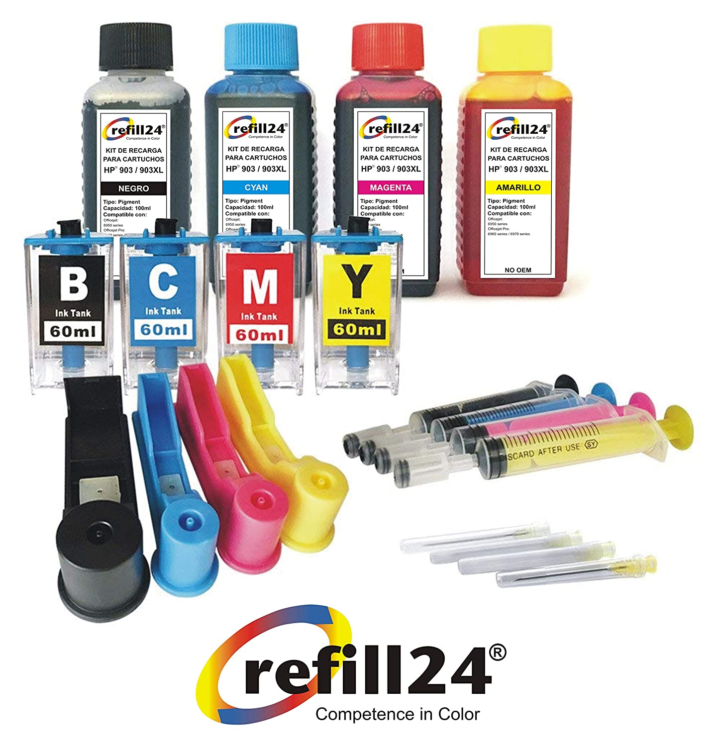 Kit de Recarga para Cartuchos de Tinta HP 903XL 903 Negro y Color ...