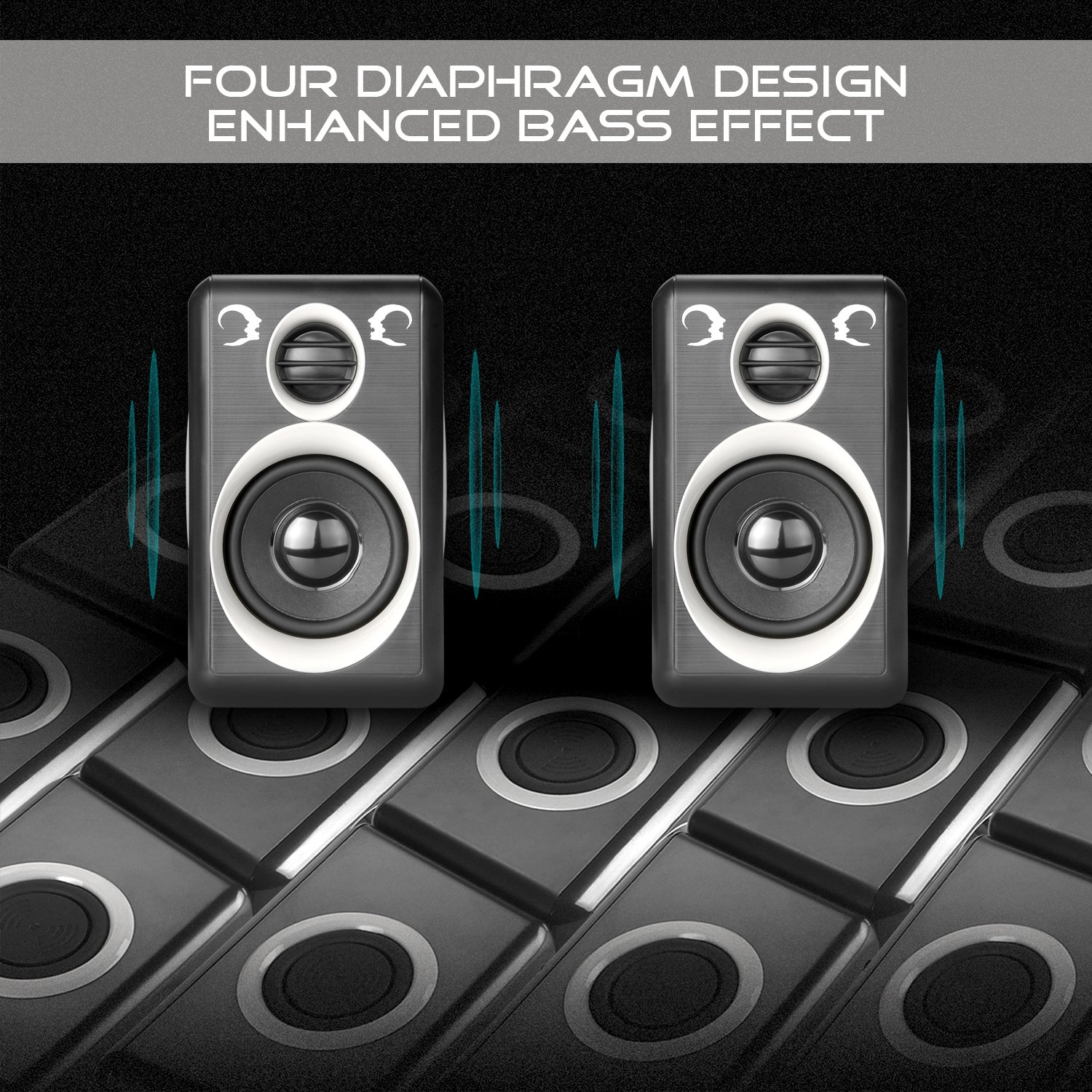 Computer Speakers With Surround Sound 2.0CH USB Wired Powered Multimedia Speaker for Desktop/TV/PC/Laptops/Smart Phone RECCAZR Built-in Four Loudspeaker Diaphragm (Gray) by RECCAZR (Image #3)