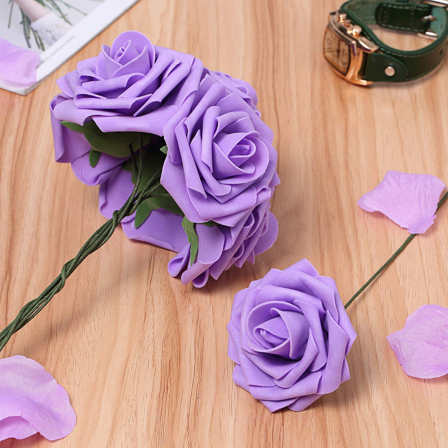 Bunny Lamb Artificial Roses Handcrafted Wedding Flowers for DIY Wedding Centerpieces Bridal Bouquet Flower Arrangement and Church Hotel Restaurant Home Decorations - 50pcs (Floral Lavender)