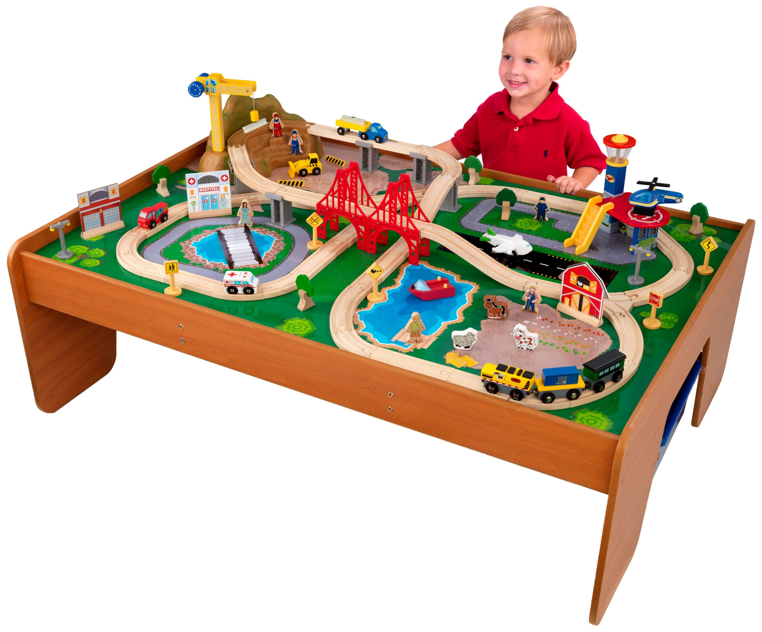 Superbe KidKraft Metropolis Train Table 100pc Train Set Kids Play Toy Fun Wood  Frame Kid