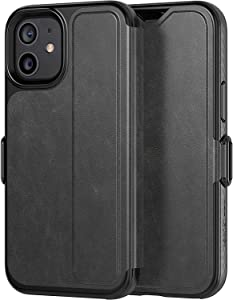 tech21 Evo Wallet Phone Case for Apple iPhone 12 Mini 5G with 12 ft. Drop Protection, Black