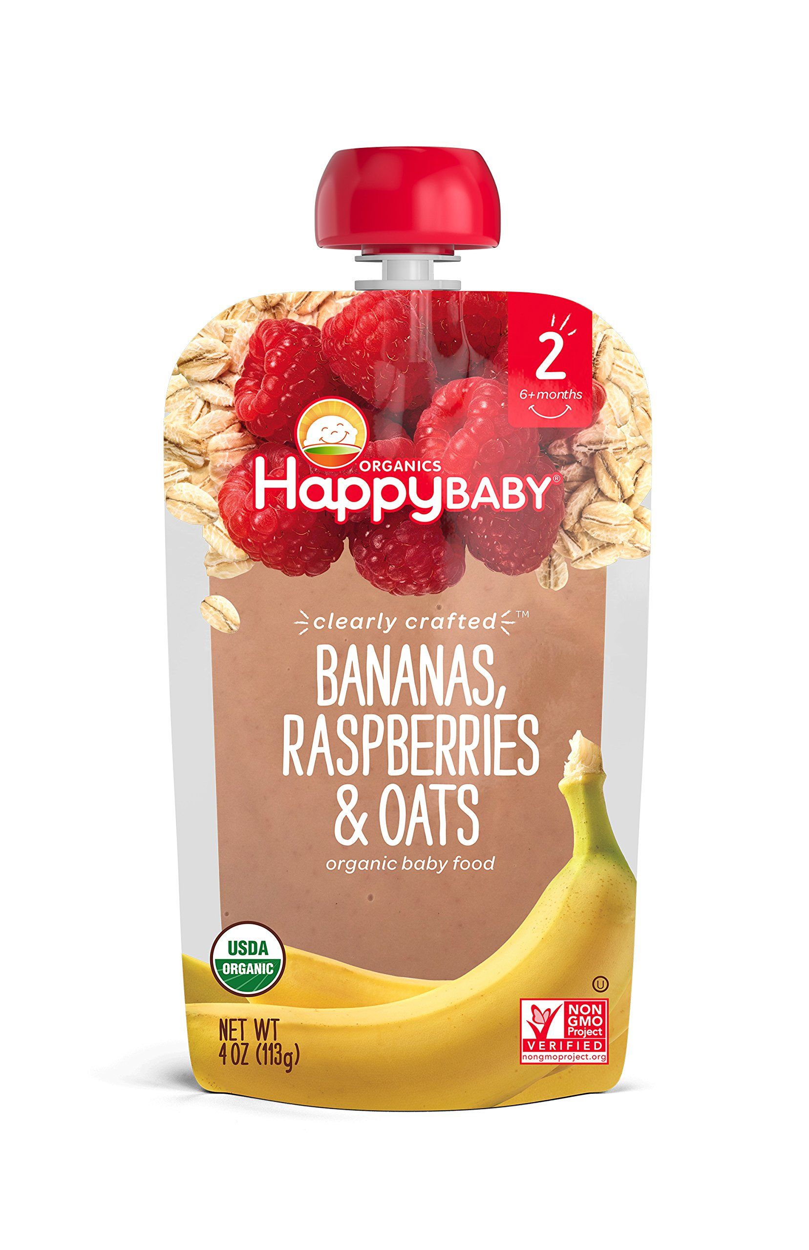 Happy Baby Organic Clearly Crafted Stage 2 Baby Food Bananas Raspberries & Oats, 4 Ounce Pouch (Pack of 16) Resealable Baby Food Pouches, Fruit & Veggie Puree, Organic Non-GMO Gluten Free Kosher by Happy Baby (Image #3)