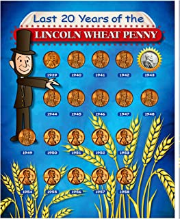 product image for Last 20 Years of The Lincoln Wheat Penny Beginner Coin Set| Coins for Kids | Coloring Sheet and Quiz | Wheat Ear Cents- American Coin Treasures