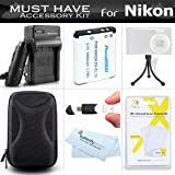 Must Have Accessory Kit For Nikon Coolpix S3500 S6400 S3100 S4100 S100 S4300 S3300 S5200 S6500 S3200 S4200 S5200 S6500 S3200 S4200 S6800 S5300 S3600 Digital Camera Includes Replacement Extended (1000Mah) EN-EL19 Battery + AC/DC Charger + Case + More
