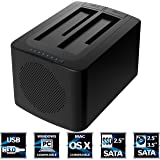 Sabrent USB 3.0 to SATA Dual Bay External Hard Drive Docking Station with Built-in Cooling Fan for 2.5 or 3.5in HDD, SSD with Hard Drive Duplicator/Cloner Function [8TB Support] (EC-HDFN)