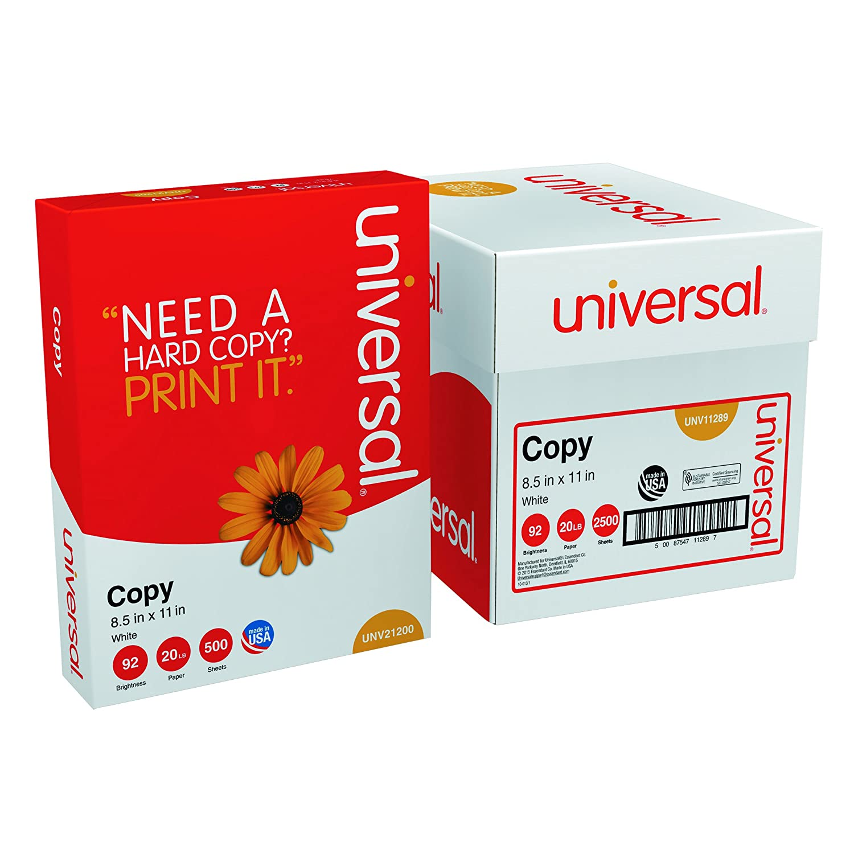 Universal 11289 500-Sheet Plain Copier Paper For Fax Machine And Printer (White) Universal Battery UNV11289
