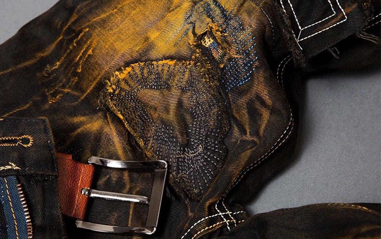 Amazon.com: Hombre elegante Slim Fit Jeans con parches ...