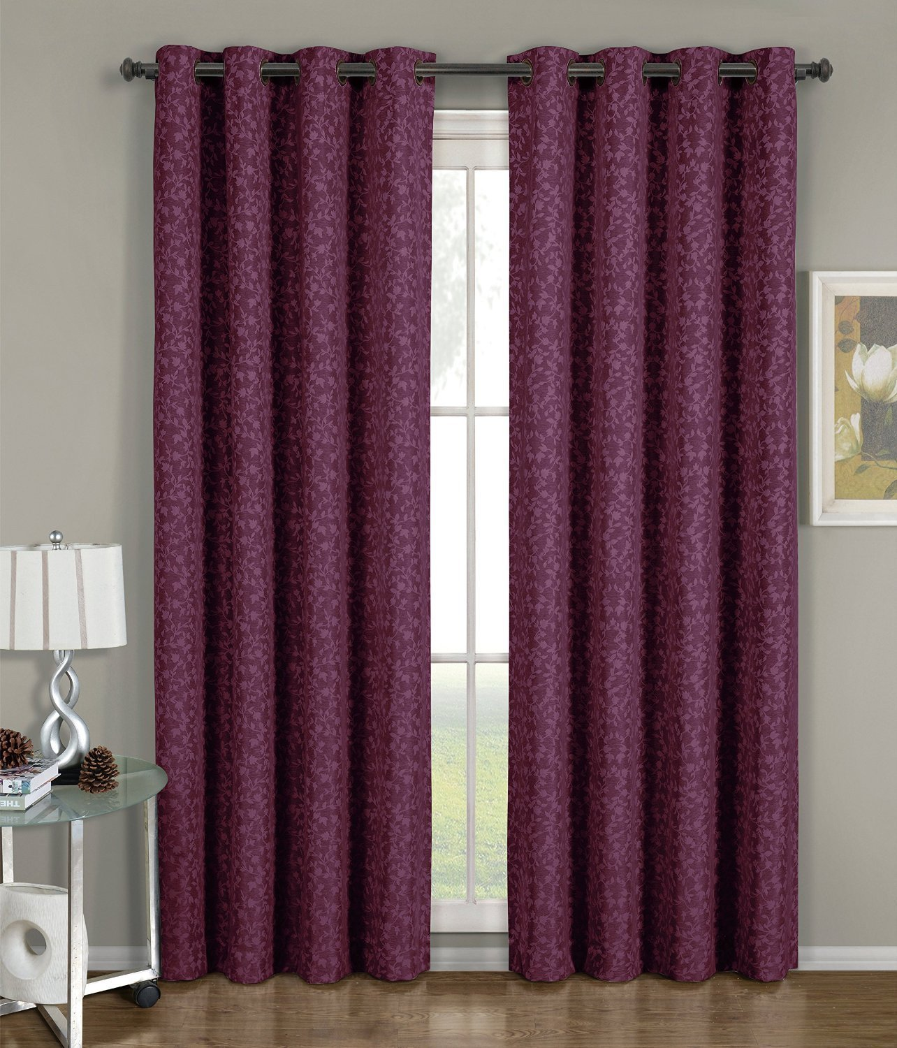 Fiorela - Burgundy - Jacquard Grommet Window Curtain Panels
