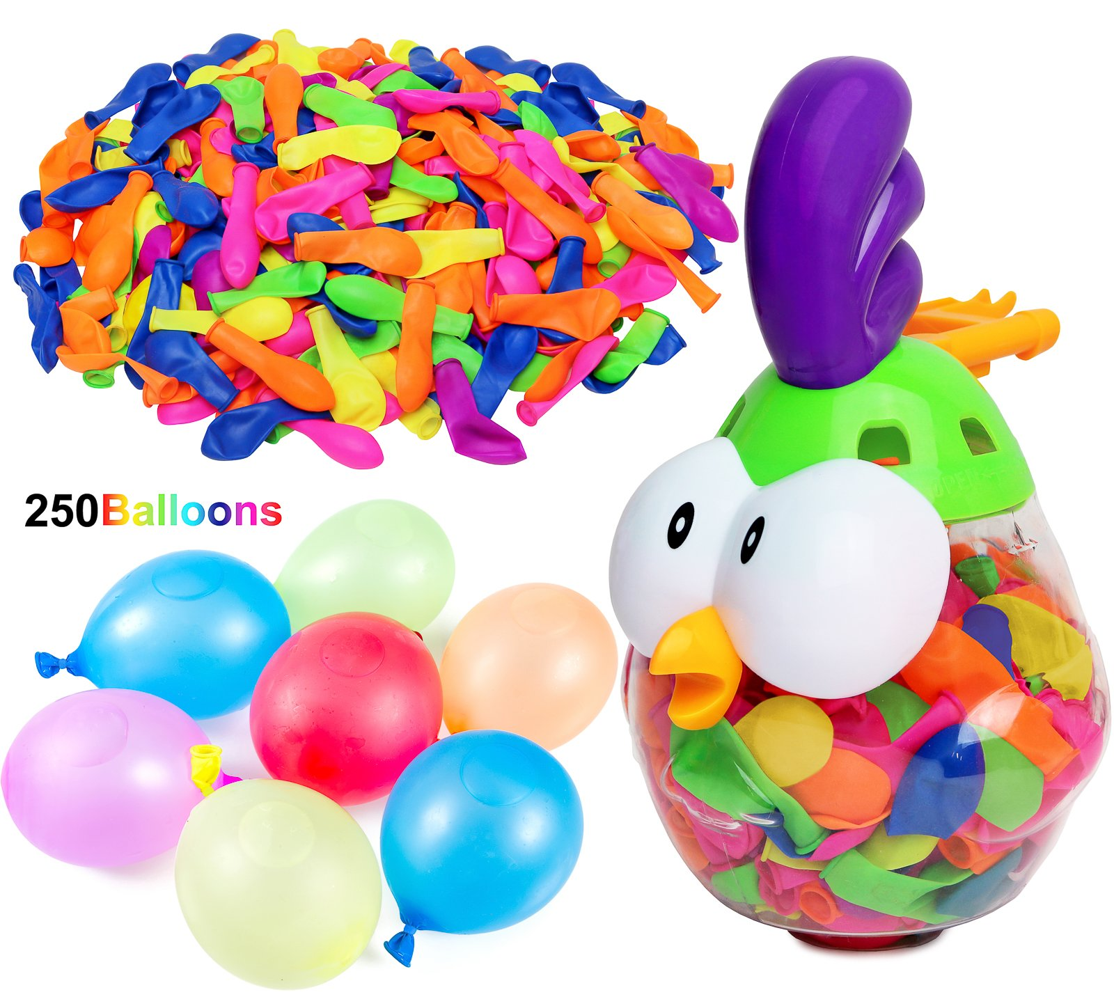 Kiddie Play Water Balloons for Kids with Filler Pump (250 Balloons)