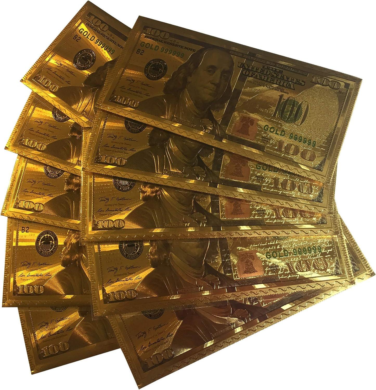 Holly Lines Cash Gift Card Envelopes Money Gift Envelopes 3.5 x 7 10 per Pack, Gold Foil Replicas of U.S. $100 Bill Cash Management Envelopes