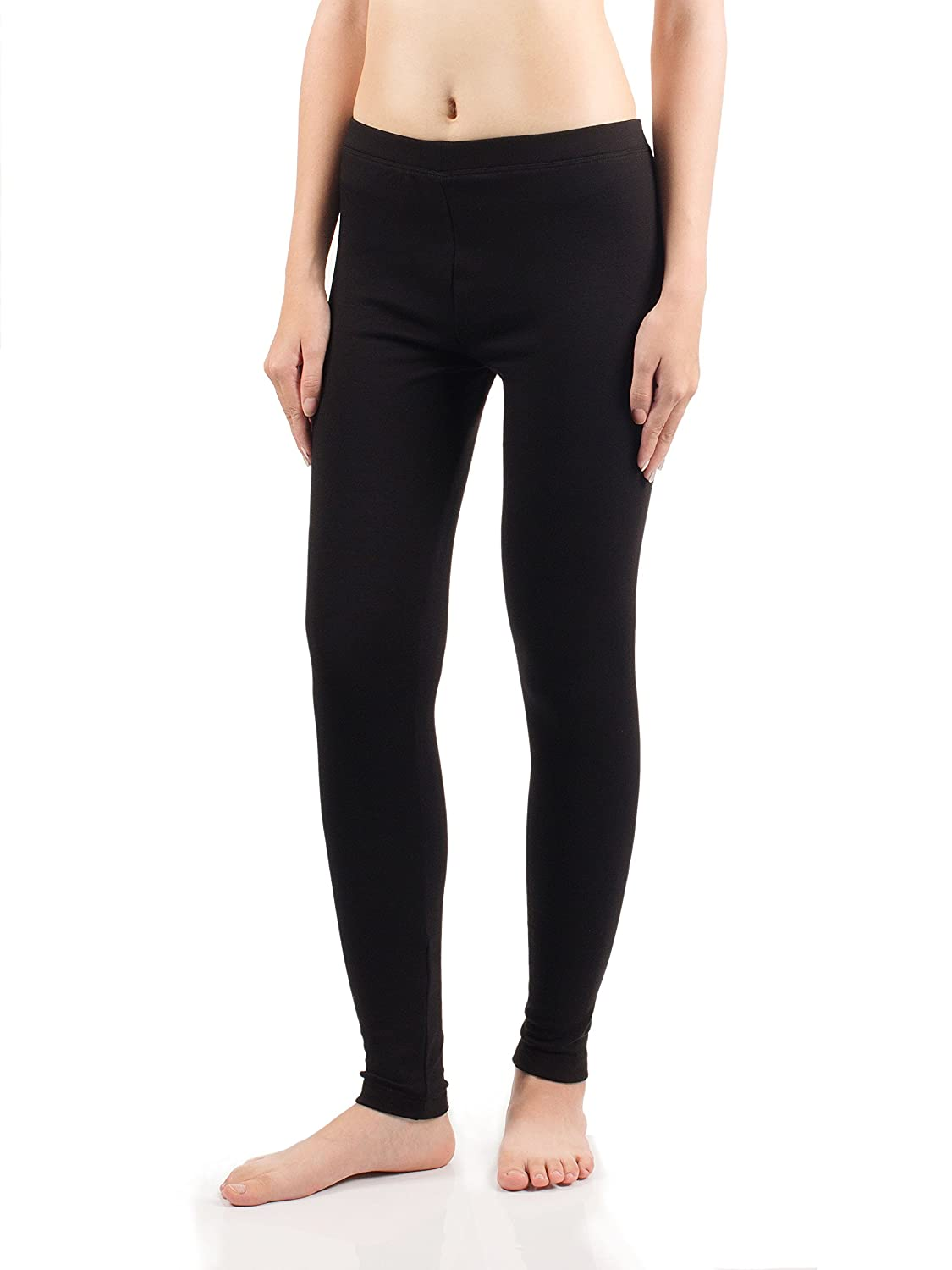 David Archy Womens Fleece Lined Low Rise Cotton Baselayer Wicking Leggings Thermal Bottom