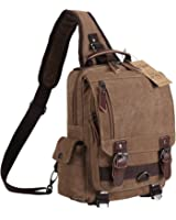 Ulgoo Canvas Messenger Bag Single Shoulder Backpack Durable Strap Travel Rucksack