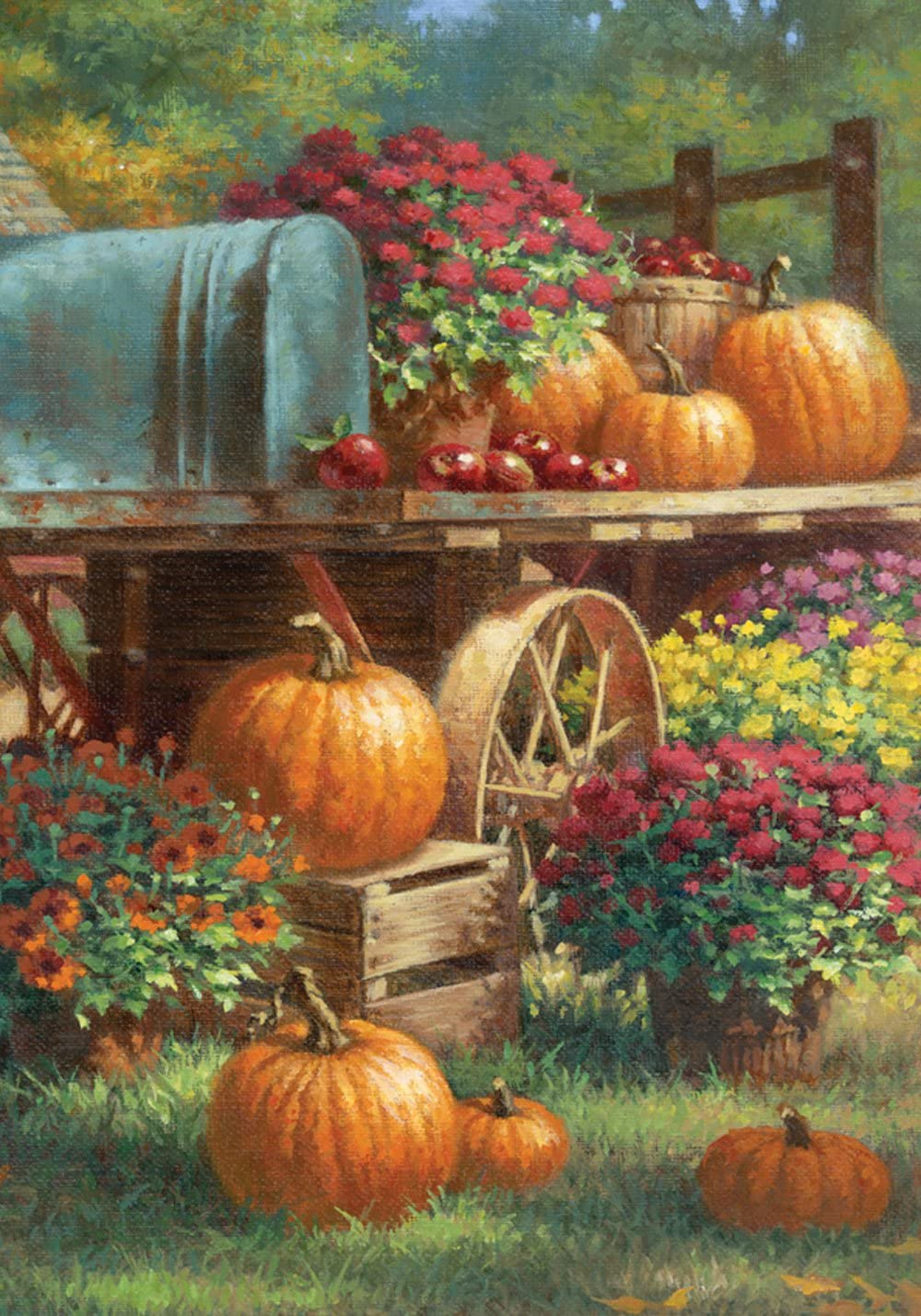 Toland Home Garden Farm Pumpkin 28 x 40 Inch Decorative Rustic Fall Autumn Harvest Flower House Flag - 109419