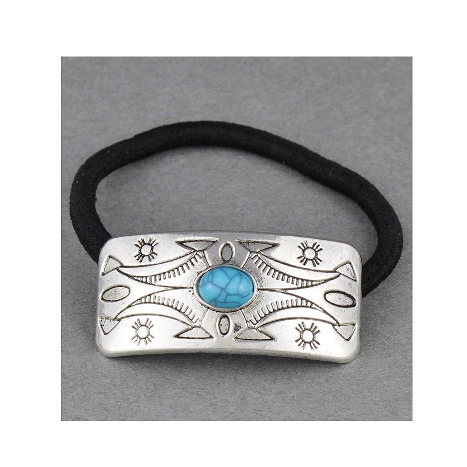 Silver turquoise metal cuff genie style ponytail holder stretch pony tail cover