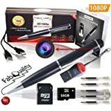 PREMIUM Hidden Camera Spy Pen Camera 1080p Secret FREE 16GB SD + SD Reader & 5 ink Fills Inc! Real HD Video, Voice + Image Upgraded Battery Executive Multifunction DVR