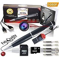 abQuality 1080p. Penna con videocamera nascosta, scheda SD da 16 GB, Real di Video HD, Audio Image aggiornato Batteria & 5, da riempire con inchiostro e multifunzione DVR.-Regalo perfetto