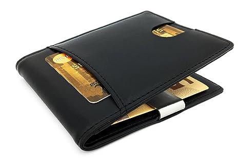 Cartera moderna con MONEYBLASTER en caja de regalo RFID protegido y extra fino, hecho a