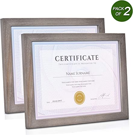 Emfogo 8 5x11 Certificate Frames With Stand Rustic Wood Document Frames With High Definition Glass For Wall Or Tabletop Display Set Of 2 Weathered