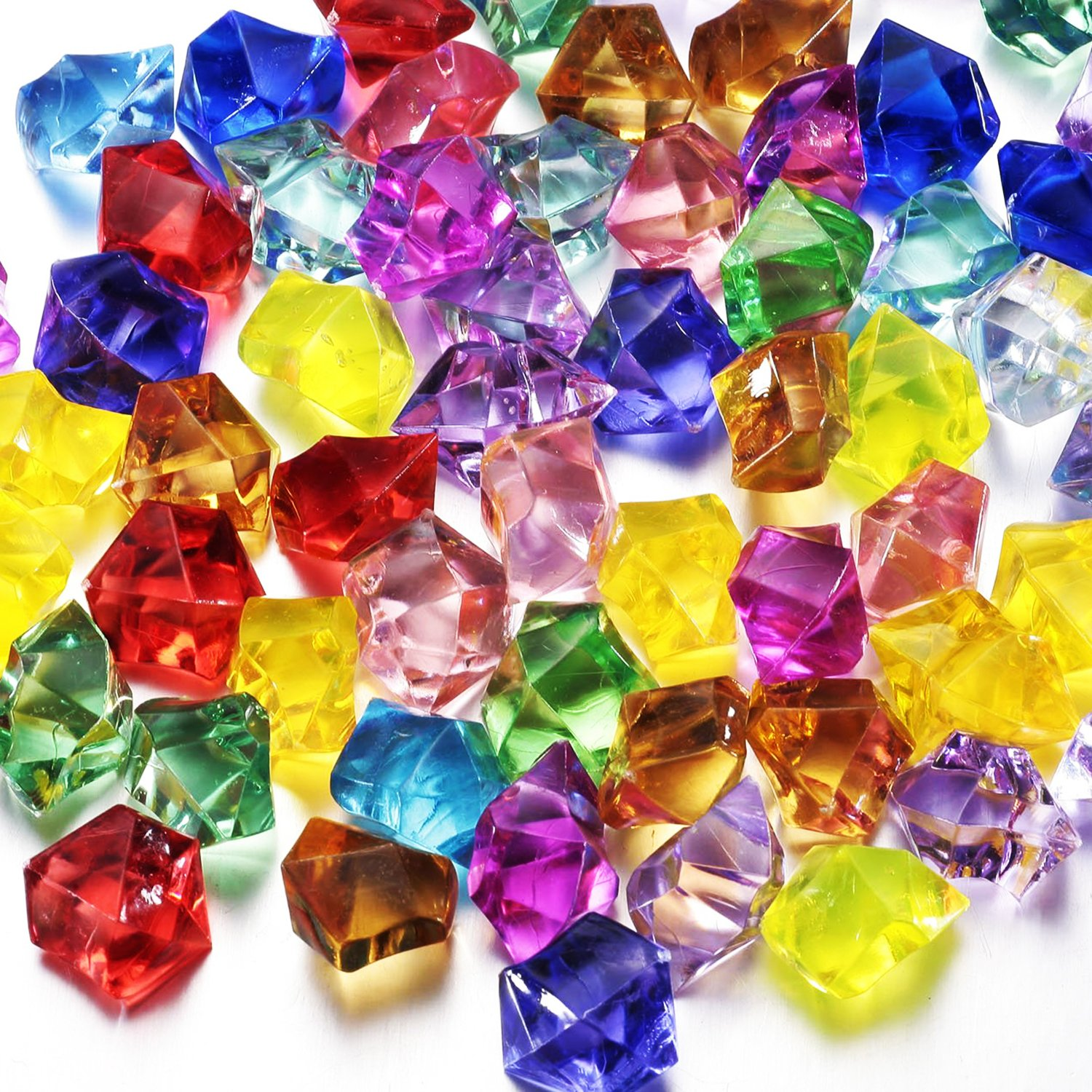Multi-Colored Acrylic Diamonds Pirate Treasure Jewels for Costume Stage Props, Party Decoration,Wedding and Vase Fillers-30 Pcs Angel&Love