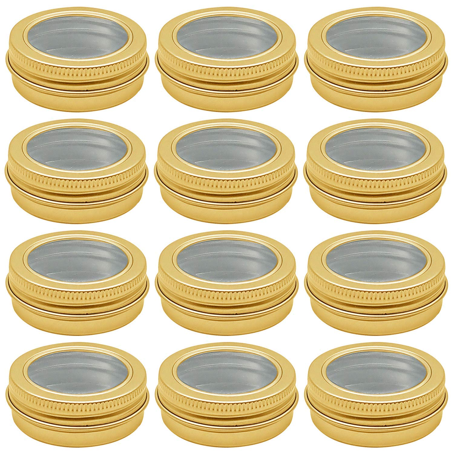 Hulless 2 oz Aluminum Tin Jar 60 ml Refillable Containers Clear Top Screw Lid Round Tin Container Bottle for Candle, Lip Balm, Salve, Eye Shadow, Powder, 12 Pcs Gold Color.