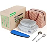 Stainless Steel Lunch Bento Box Meal Prep Food Storage Containers With Lids - Adult Portion Control To Go Lunchbox- Metal Sandwich Snack Container Boxes -2 Pieces Set 29oz& 15oz With Lunch Bag Utensil