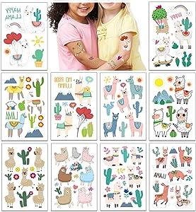 Phogary Kids Temporary Tattoos(60 pcs+), Llama Party Tattoos (10 sheets) for Kids Birthday Party Favors - Alpaca, Rainbow, Cactus, Fake Waterproof Tattoos for Boys Girls