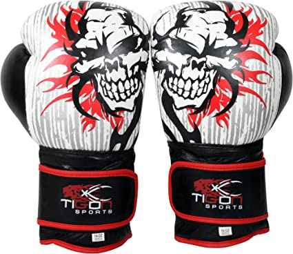 Boxing Gloves Leather Sparring Training Punch Martial Arts Kick Boxing Red Skull