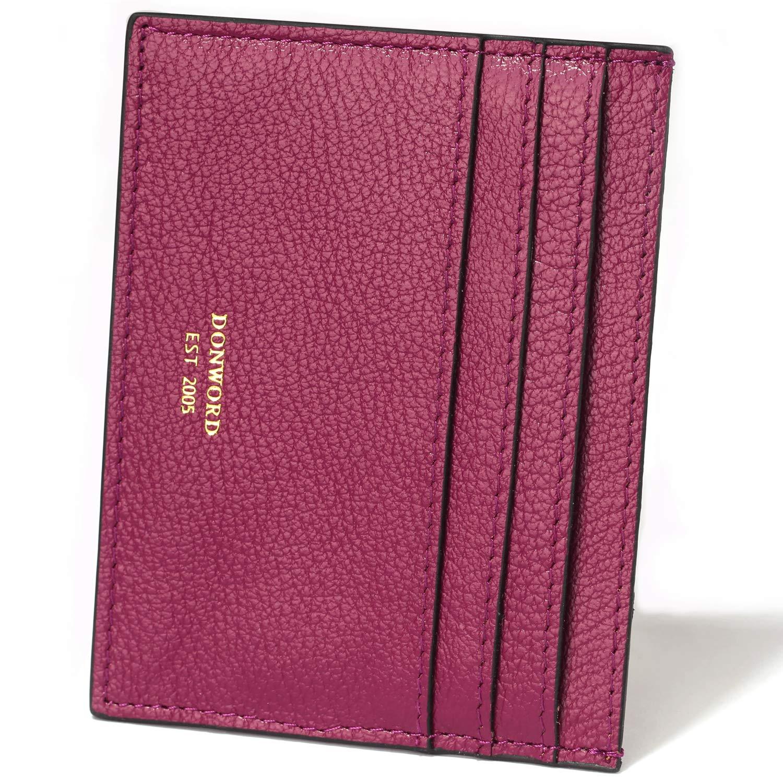 DONWORD RFID Slim Leather Card Case Wallet Minimalist Credit Card Holder Money Clip (Purple)