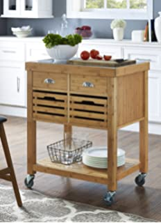 Delicieux Boraam 50650 Kenta Bamboo Kitchen Cart With Stainless Steel Top