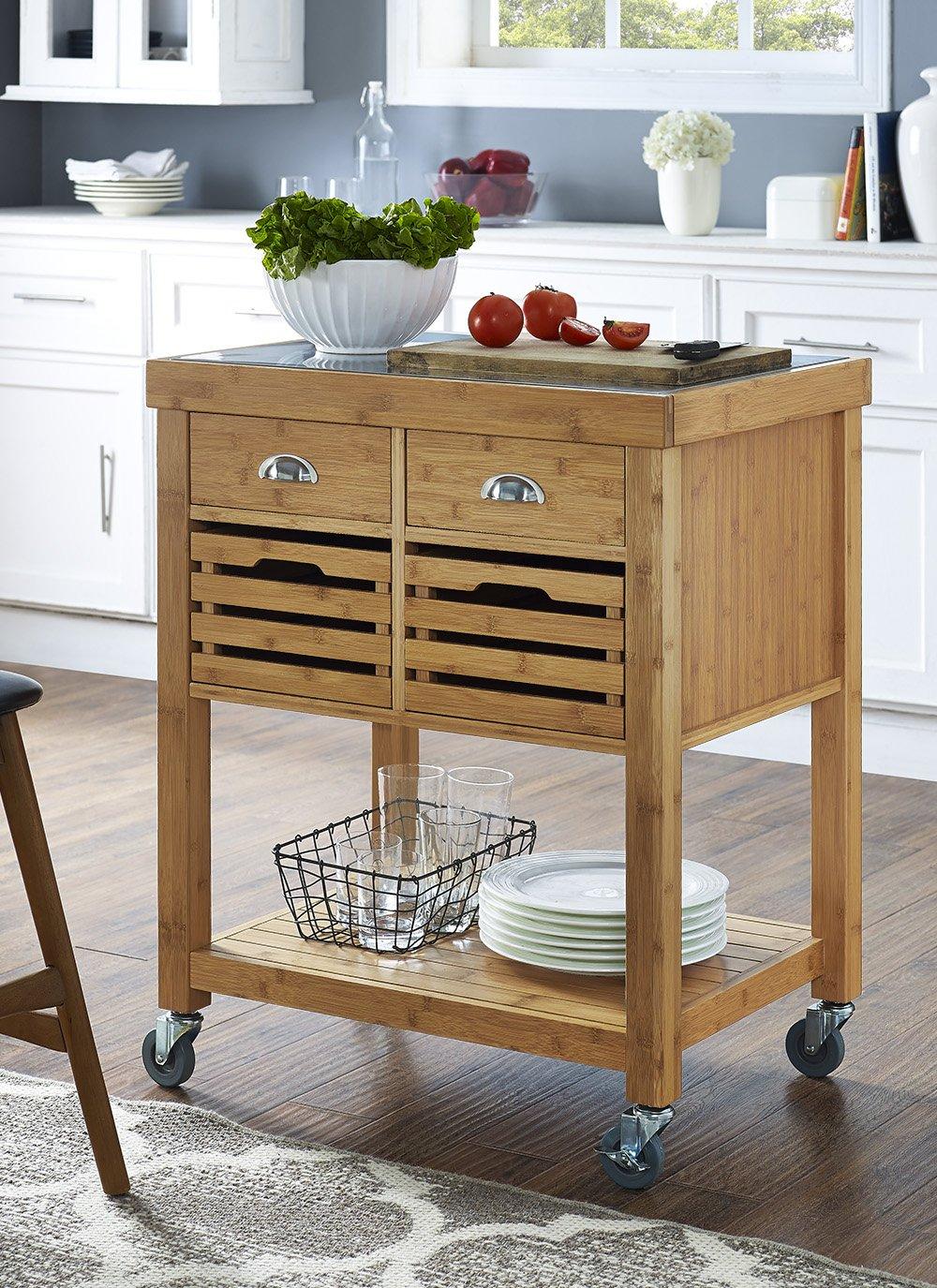 amazon com boraam 50650 kenta bamboo kitchen cart with stainless rh amazon com stainless steel kitchen work table cart with bamboo top