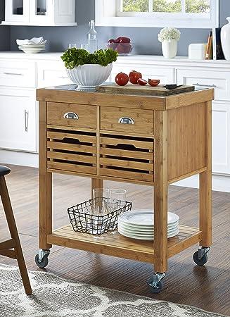 Attractive Boraam 50650 Kenta Bamboo Kitchen Cart With Stainless Steel Top
