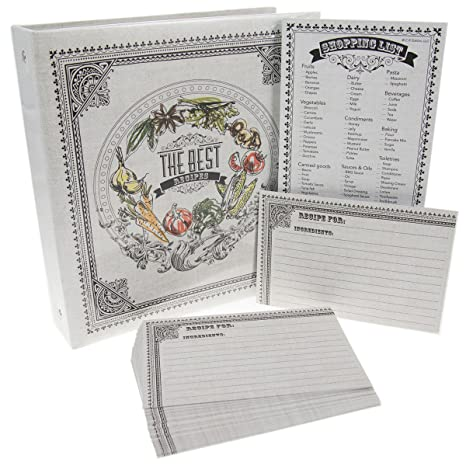 amazon com c r gibson recipe binder bundle pocket pages 4x6 cards