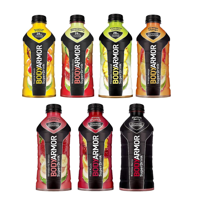BodyArmor SuperDrink, Electrolyte Sport Drink, 7 Flavor Variety Pack, 28 oz Bottles, with Oasis Snacks Sticker (Pack of 7)