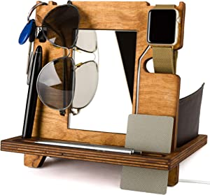 Rostmary-Wooden Docking Station-Smart Watch Stand-Phone Holder-Nightstand-Desk Organizer for Smartphone-Watch and Wallet Holder for him, for Men, for dad-Husband Gift-Set 3 in 1