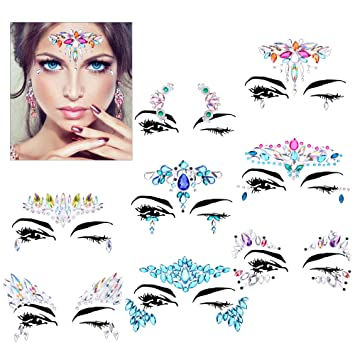 29136eedd17 Face Gems Set(8Pack),Konsait Face Jewels Rhinestone Bindis Crystal ...
