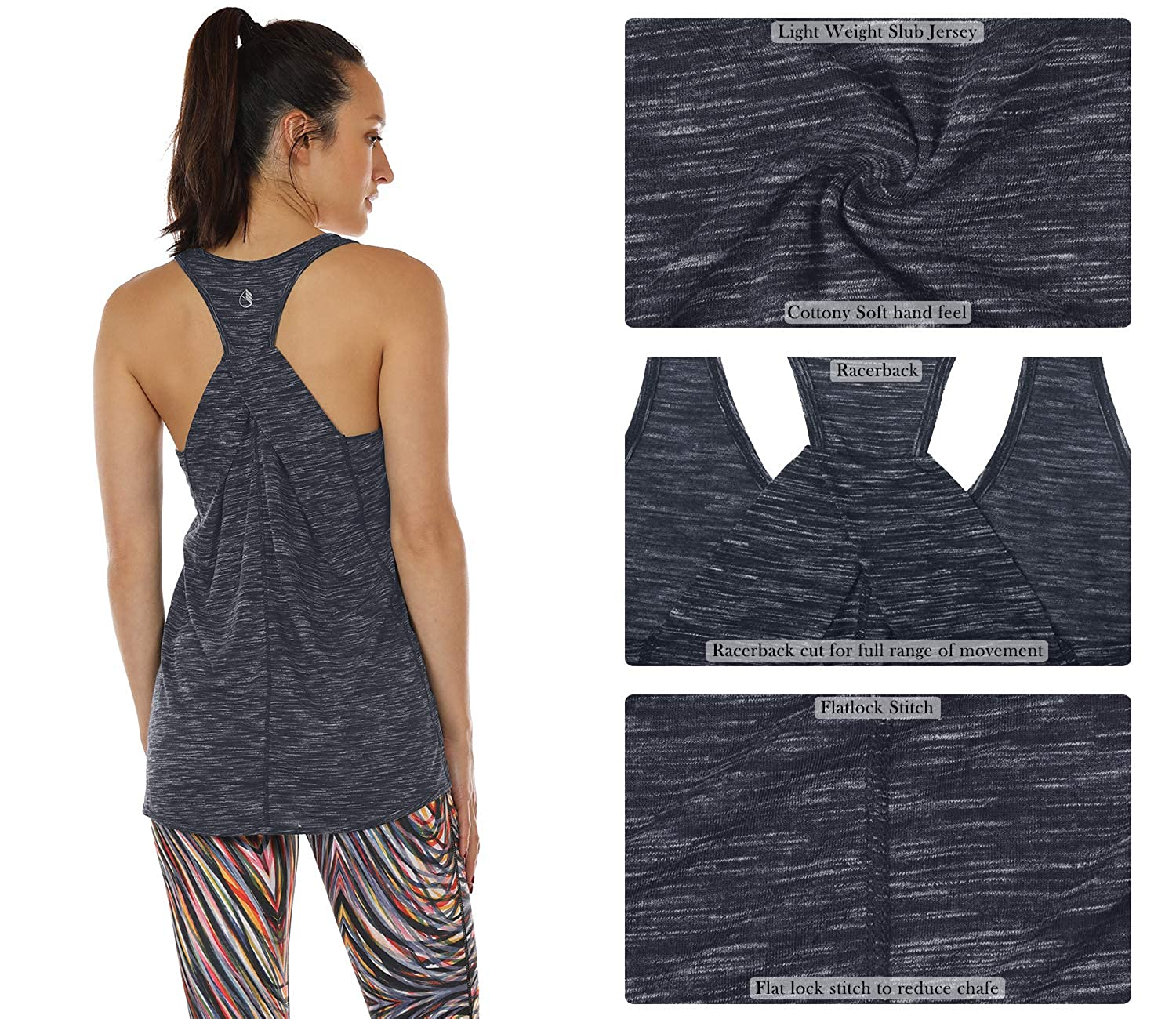 Womens Muscle Tank icyzone Workout Tank Shirts for Women Athletic Exercise Yoga Gym Tops