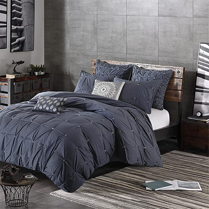 Masie King/California King n/a Embroidered Cotton Duvet Cover Set Navy