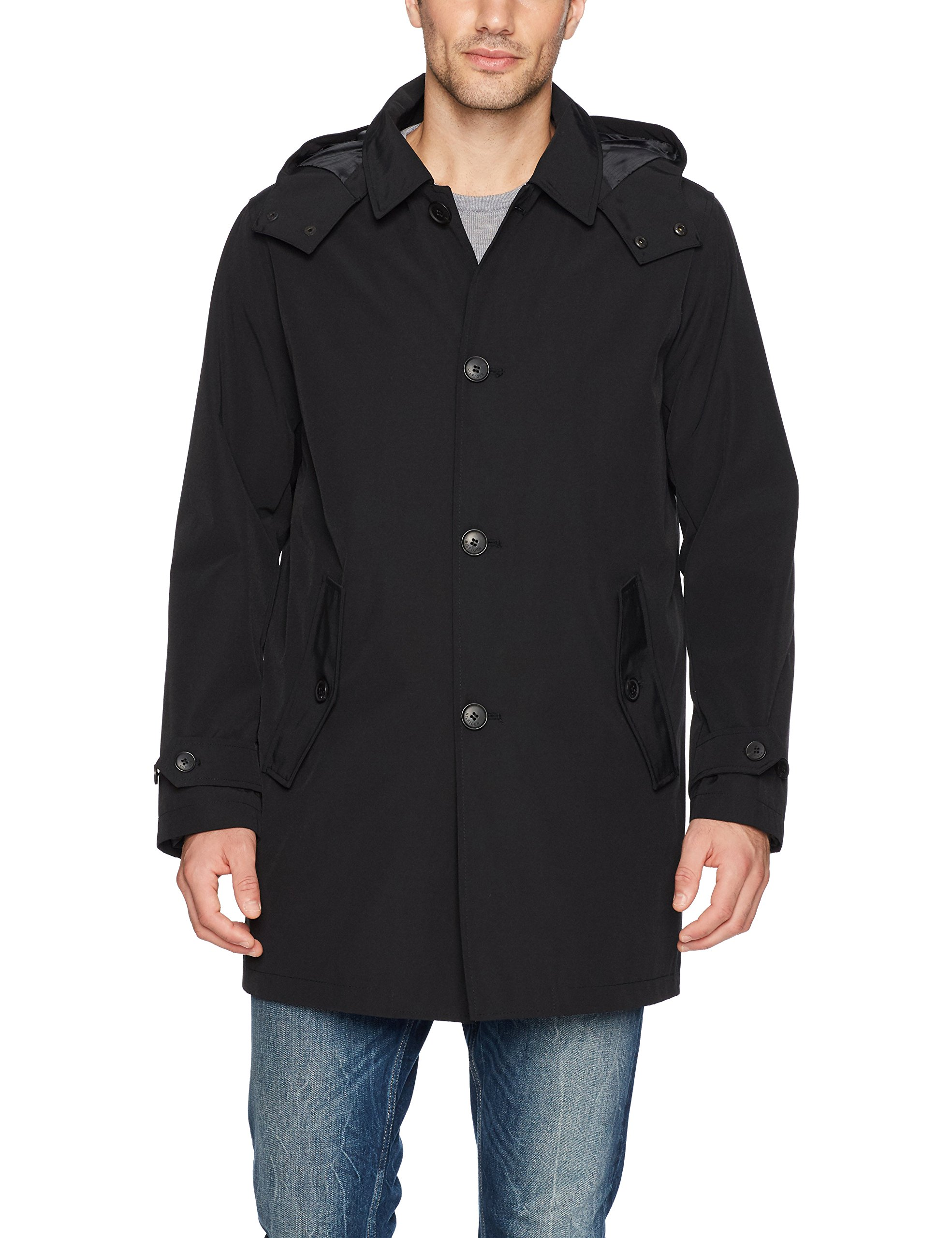 Tommy Hilfiger Men's Hooded Rain Trench Coat with Removable Quilted Liner, Black, Small by Tommy Hilfiger
