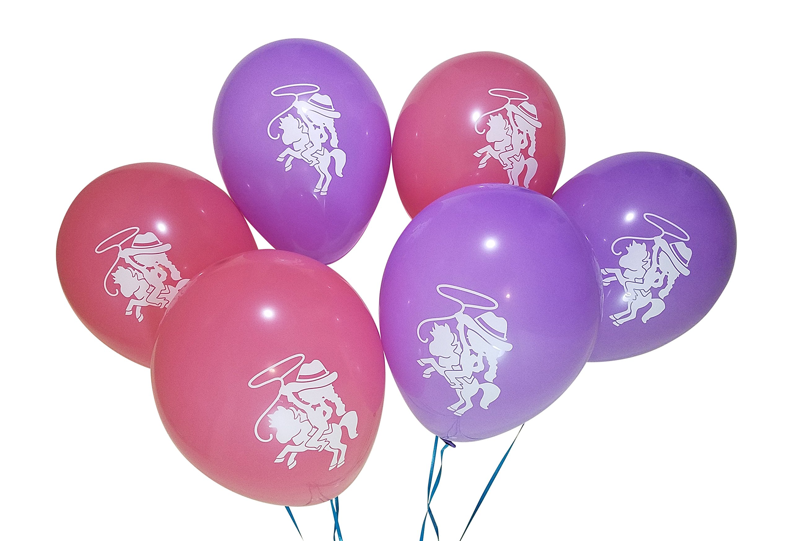 Cowgirl Balloons for Horse, Western Birthday Party – 25 Pack - Pink, Purple