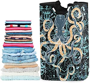 visesunny Vintage Octopus Anchor Large Laundry Bag Collapsible Oxford Fabric Laundry Hamper Foldable Portable Dirty Clothes Laundry Basket with Handles Waterproof Washing Bin Laundry Tote Bag