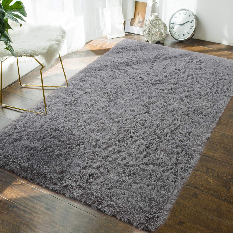 Andecor Soft Fluffy Bedroom Rugs - 3 x 5 Feet Indoor Shaggy Plush Area Rug for Boys Girls Kids Baby College Dorm Living Room Home Decor Floor Carpet, Grey