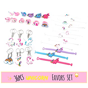 Meiliy Unicorn Party Supplies Birthday Favours Ring Bracelet Keyring Gift Bag Fillers For Kids And