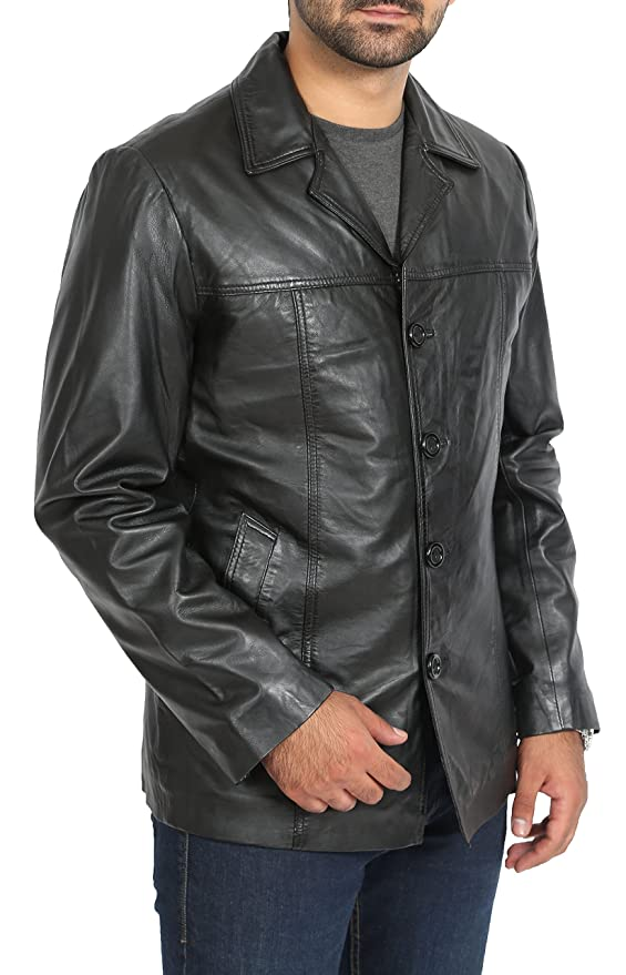 Amazon.com: A1 FASHION GOODS Mens Fitted Blazer Leather Jacket Harris Black Classic Reefer Box Coat: Clothing