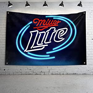 Miller Lite Fans Banner Flag Beer Beverage Banner,UV Resistance Fading & Durable Man Cave Wall Flag with Brass Grommets for Dorm Room Decor,Outdoor,Parties,3 x 5 Ft