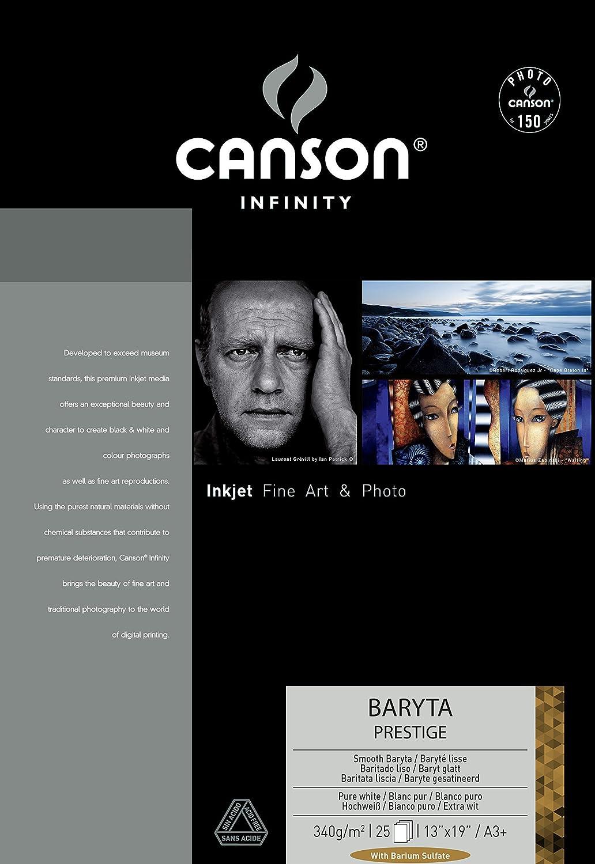 Canson infinity Baryta Prestige A3Plus 340Gsm carta inkjet bianca liscia (Confezione da 25fogli) 400083931
