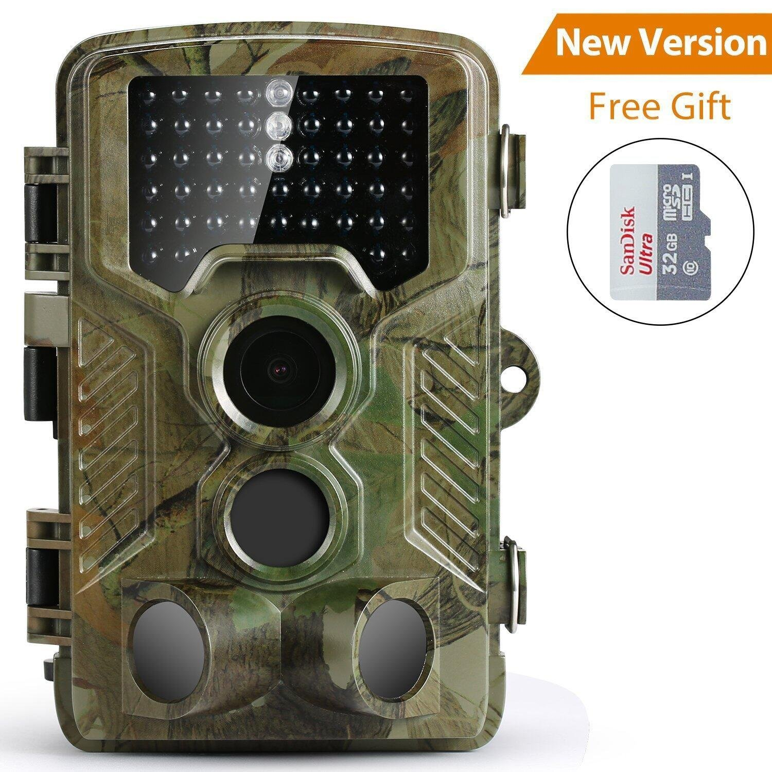 Trail Camera, Coolife HD 1080P 16MP 46 Infrared LEDs Waterproof IP56 Wildlife Camera 2.4'' LCD Screen Display Night Detection Vision 125 Degree PIR Lens Scouting Camera for Wildlife Monitoring, Surveillance, Home Security, including 32GB SD Card