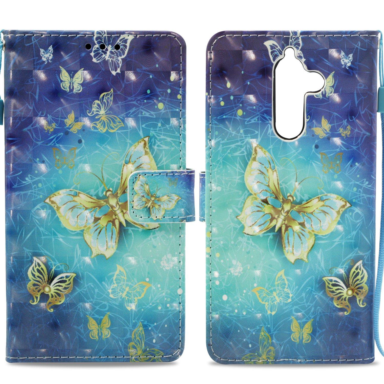 NOKIA 7 Plus Funda a prueba de golpes, 3D PU cuero Flip Notebook Funda con soporte magnético tarjeta titular ID ranura Folio TPU Bumper Protective Skin Case Cover para NOKIA 7 Plus, Blue Butterfly Tophung