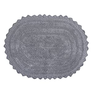 "DII Ultra Soft Spa Cotton Crochet Oval Bath Mat or Rug Place in Front of Shower, Vanity, Bath Tub, Sink, and Toilet, 17 x 24"" - Gray"