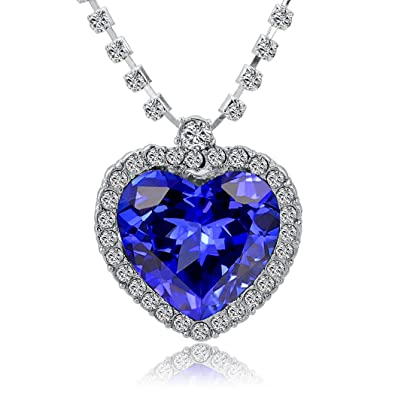Titanic heart of the ocean replica necklace blue crystal heart on titanic heart of the ocean replica necklace blue crystal heart on white crystal set chain aloadofball Image collections