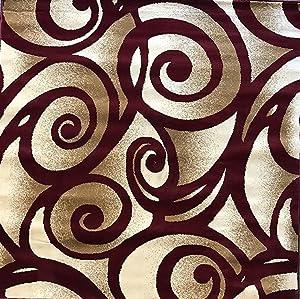 Bellagio Modern Square Contemporary 256,000 Point Area Rug Burgundy Swirl Design 341 (5 Feet 3 Inch X 5 Feet 3 Inch)
